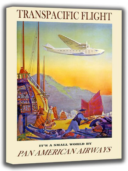 Transpacific Flight, Pan American Airways. Vintage Travel Canvas. Sizes: A4/A3/A2/A1 (002707)